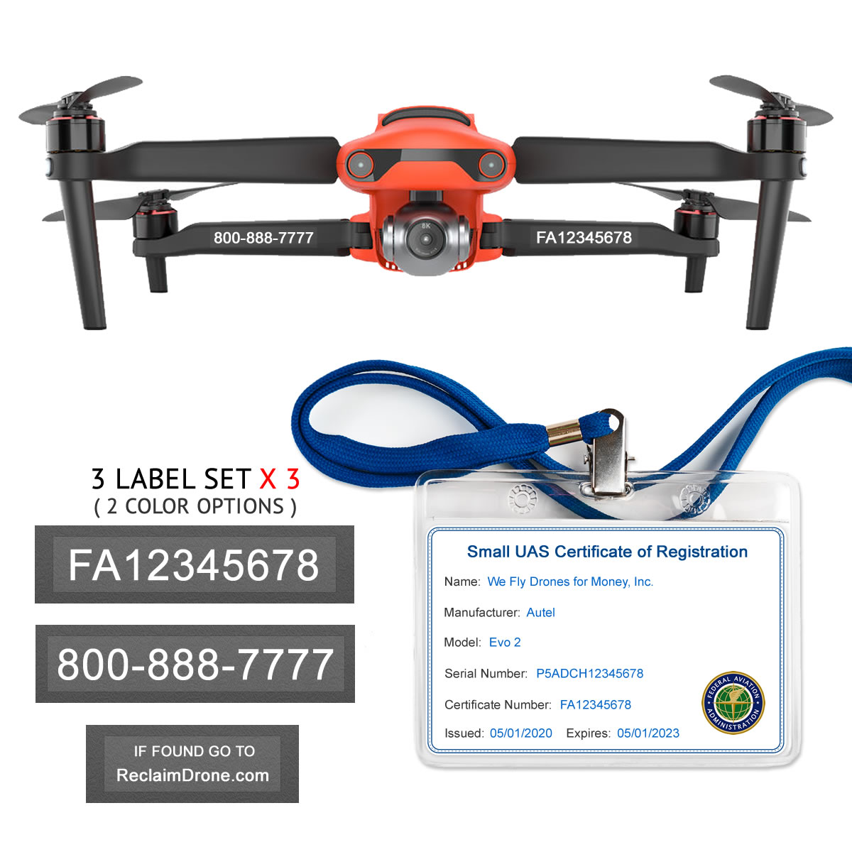 Autel Evo 2 – FAA Registration Commercial Pilot Bundle – FAA Labels, ID Card, Lanyard