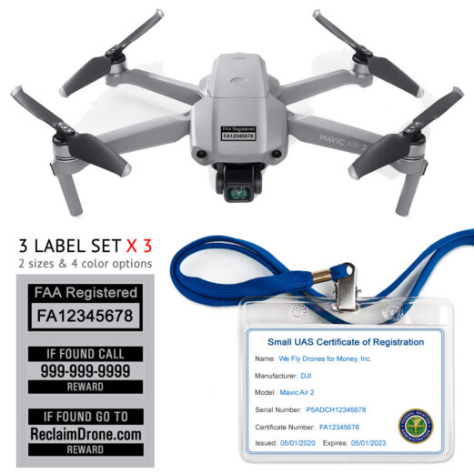 Mavic Air 2 - FAA Registration Commercial Pilot Bundle - FAA Labels, ID Card, Lanyard