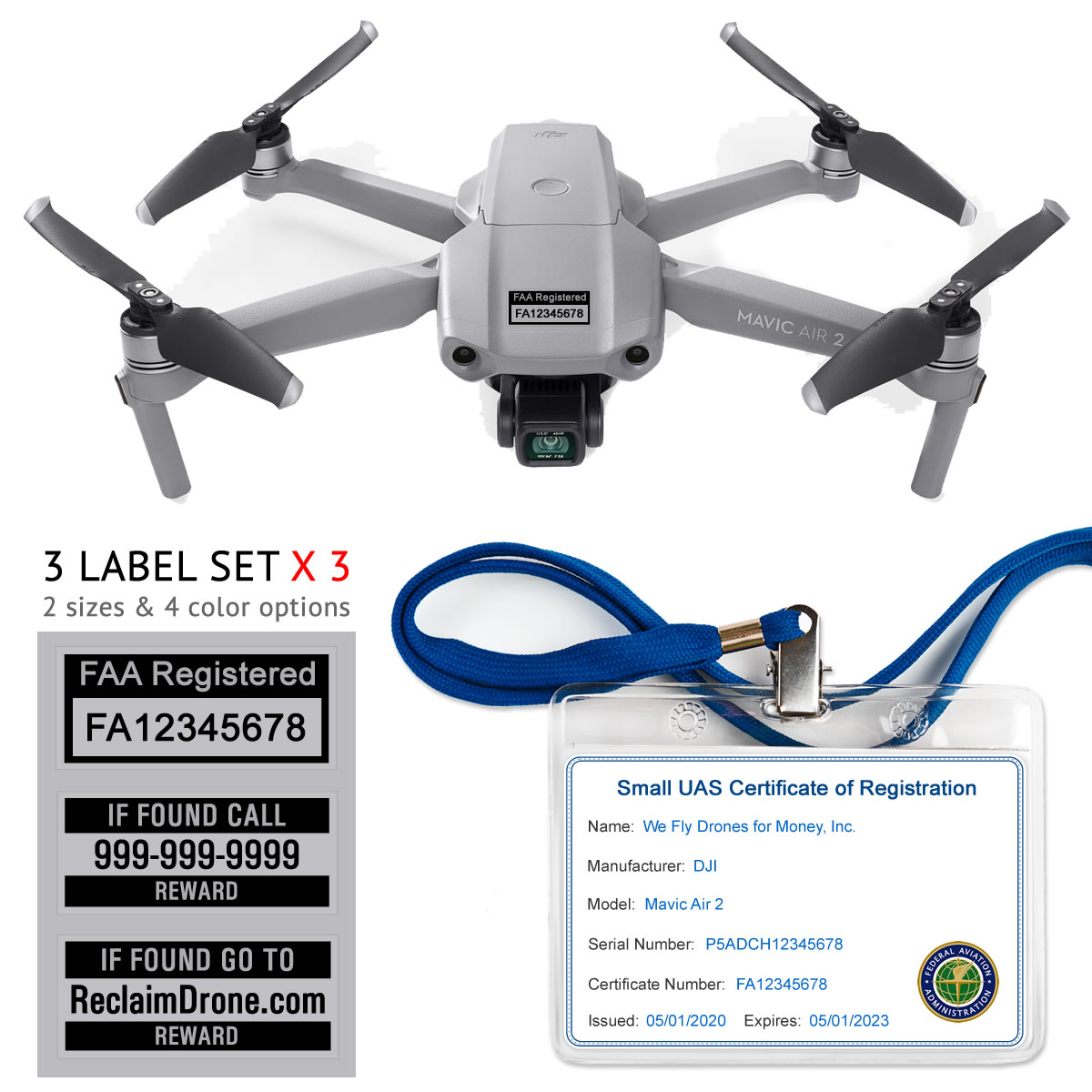Mavic Air 2 – FAA Registration Commercial Pilot Bundle – FAA Labels, ID Card, Lanyard