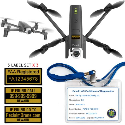 Parrot Anafi FAA Certificate Registration ID card and label bundle for commercial drone pilots