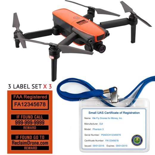 Autel Evo FAA Certificate Registration ID card and label bundle for commercial drone pilots