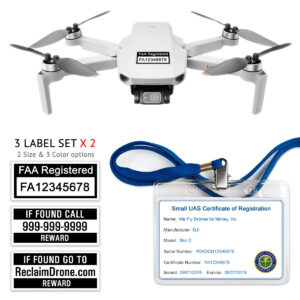 DJI Mini 2 - FAA Registration Commercial Pilot Bundle - FAA Labels, ID Card, Lanyard
