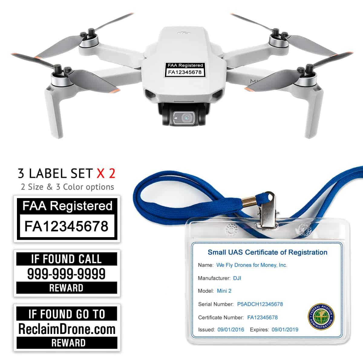 DJI Mini 2 – FAA Registration Commercial Pilot Bundle – FAA Labels, ID Card, Lanyard
