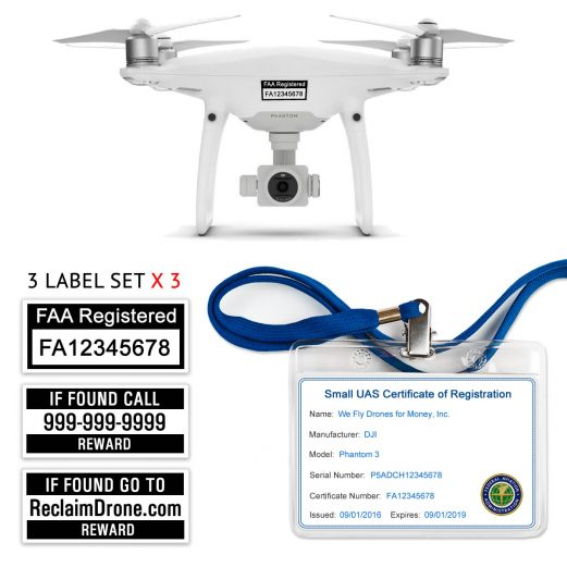 DJI Phantom 3 | 4 drone FAA Certificate Registration ID card and label bundle for commercial drone pilots