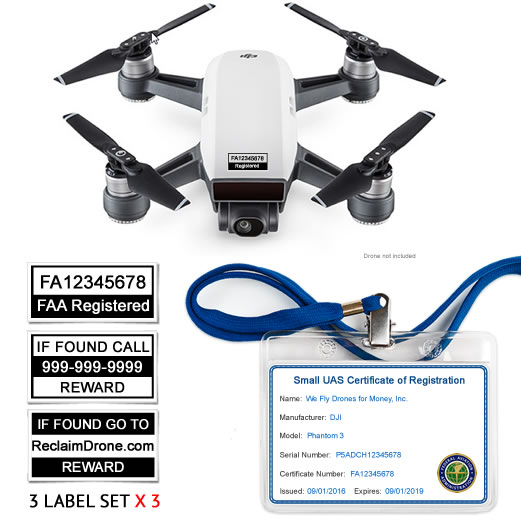 DJI Spark drone with FAA Certificate Registration ID card and label bundle for commercial pilots