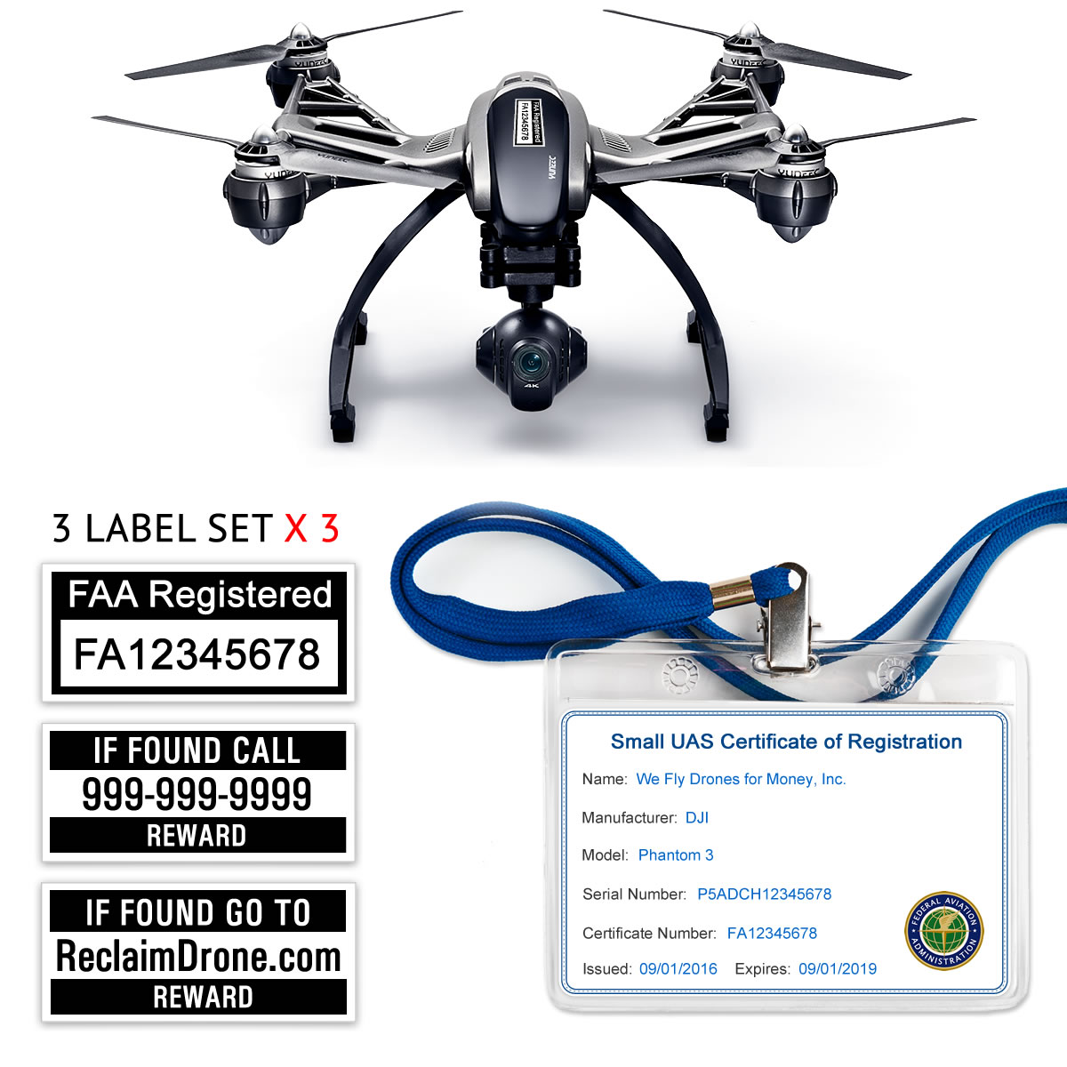 Yuneec Typhoon Q500 | 4K FAA Certificate Registration ID card and label bundle for commercial drone pilots