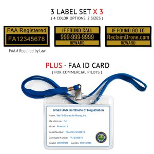 Universal drone FAA Certificate Registration ID card and label bundle for commercial drone pilots