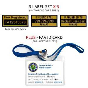 Universal drone FAA Certificate Registration ID card and label bundle for hobbyist drone pilots
