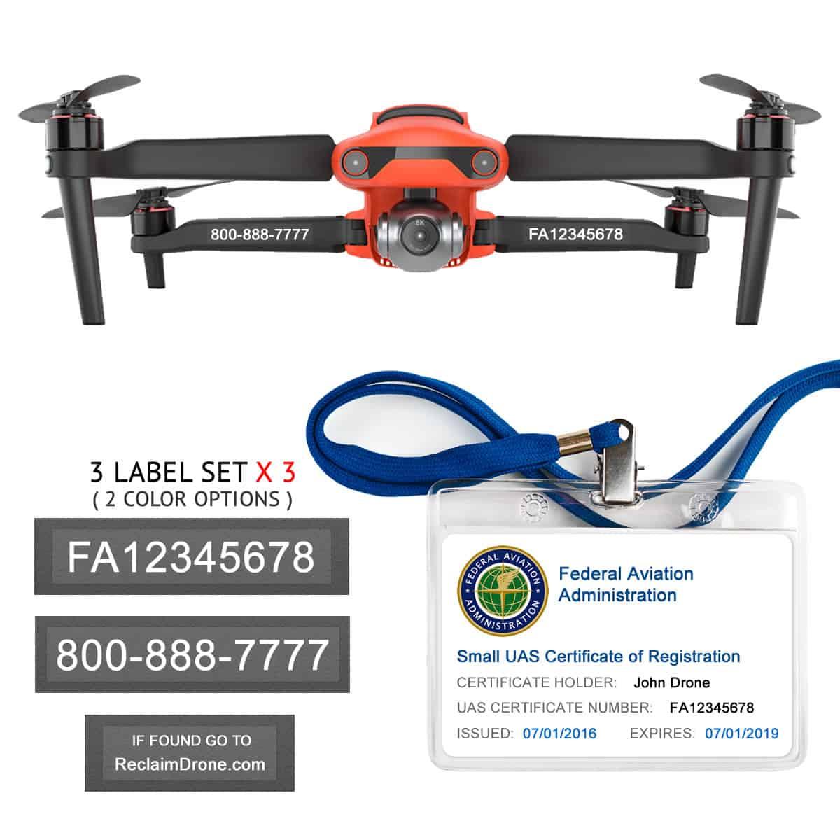 Autel Evo 2 – Bundle – FAA Registration Labels and Hobbyist FAA ID Card