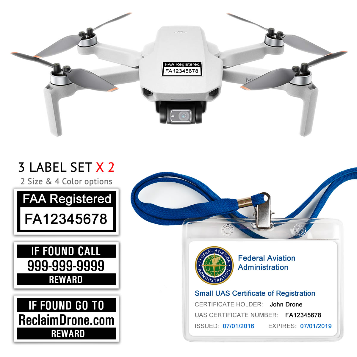 DJI Mini 2 – Bundle – FAA Registration Labels and Hobbyist FAA ID Card