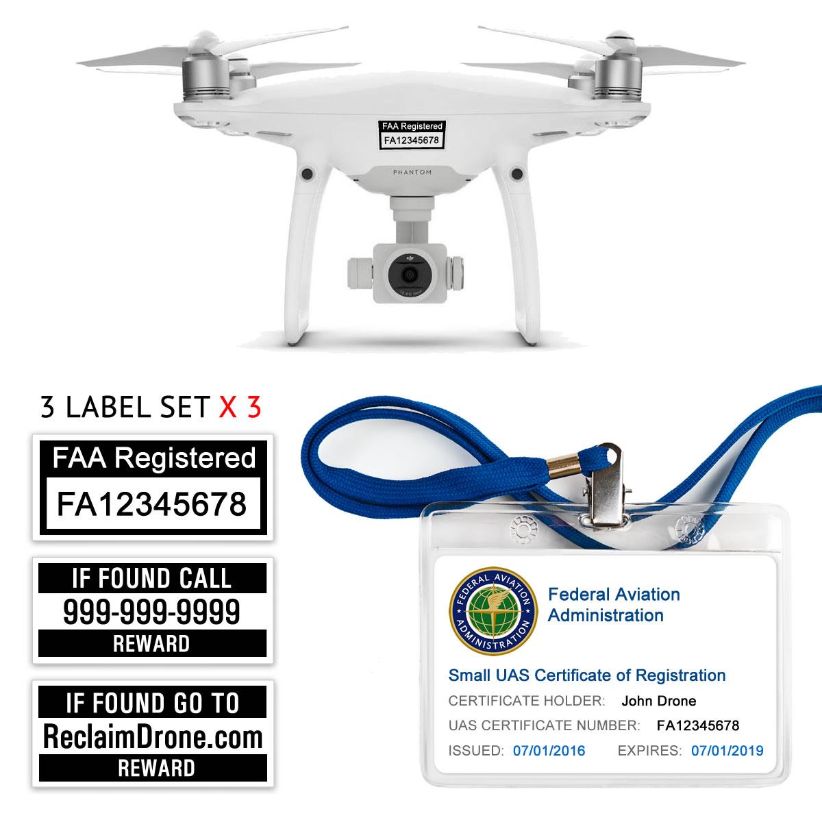 DJI Phantom 3   4 FAA Certificate Registration ID card and label bundle for hobbyist drone pilots