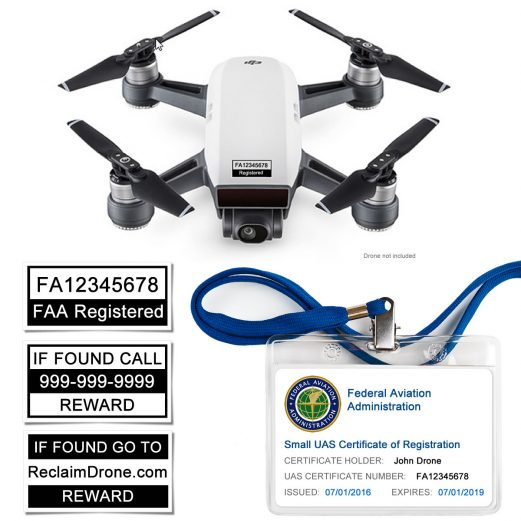 Spark Drone - Premium identification bundle - Labels and FAA UAS Certificate ID card