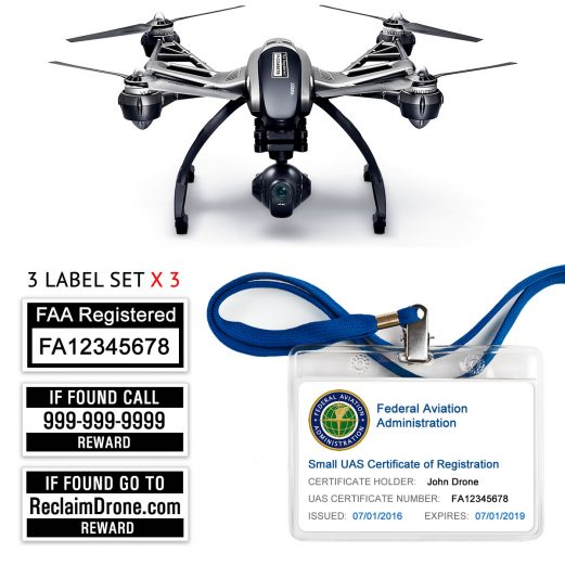 Yuneec Typhoon Q500 | 4K FAA Certificate Registration ID card and label bundle for hobbyist drone pilots