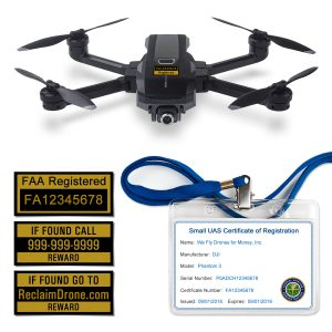 Yuneec Mantis Q FAA Certificate Registration ID card and label bundle for commercial drone pilots