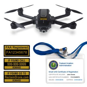 Yuneec Mantis Q FAA Certificate Registration ID card and label bundle for hobbyist drone pilots