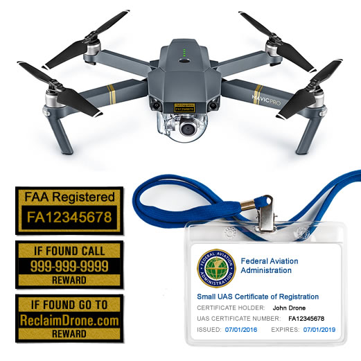 DJI Mavic Pro drone with FAA Certificate Registration ID card and label bundle for hobbyist pilots