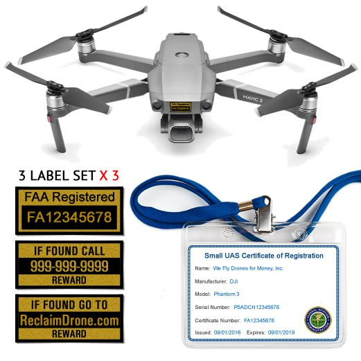 Mavic Pro 2   Zoom FAA Certificate Registration ID card and label bundle for commercial drone pilots