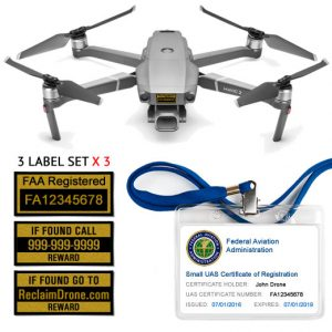 Mavic Pro 2 | Zoom FAA Certificate Registration ID card and label bundle for hobbyist drone pilots