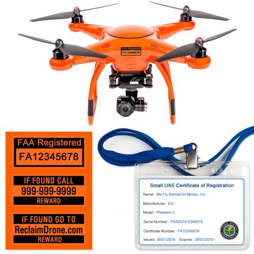 Autel X-Star FAA Certificate Registration ID card and label bundle for commercial drone pilots