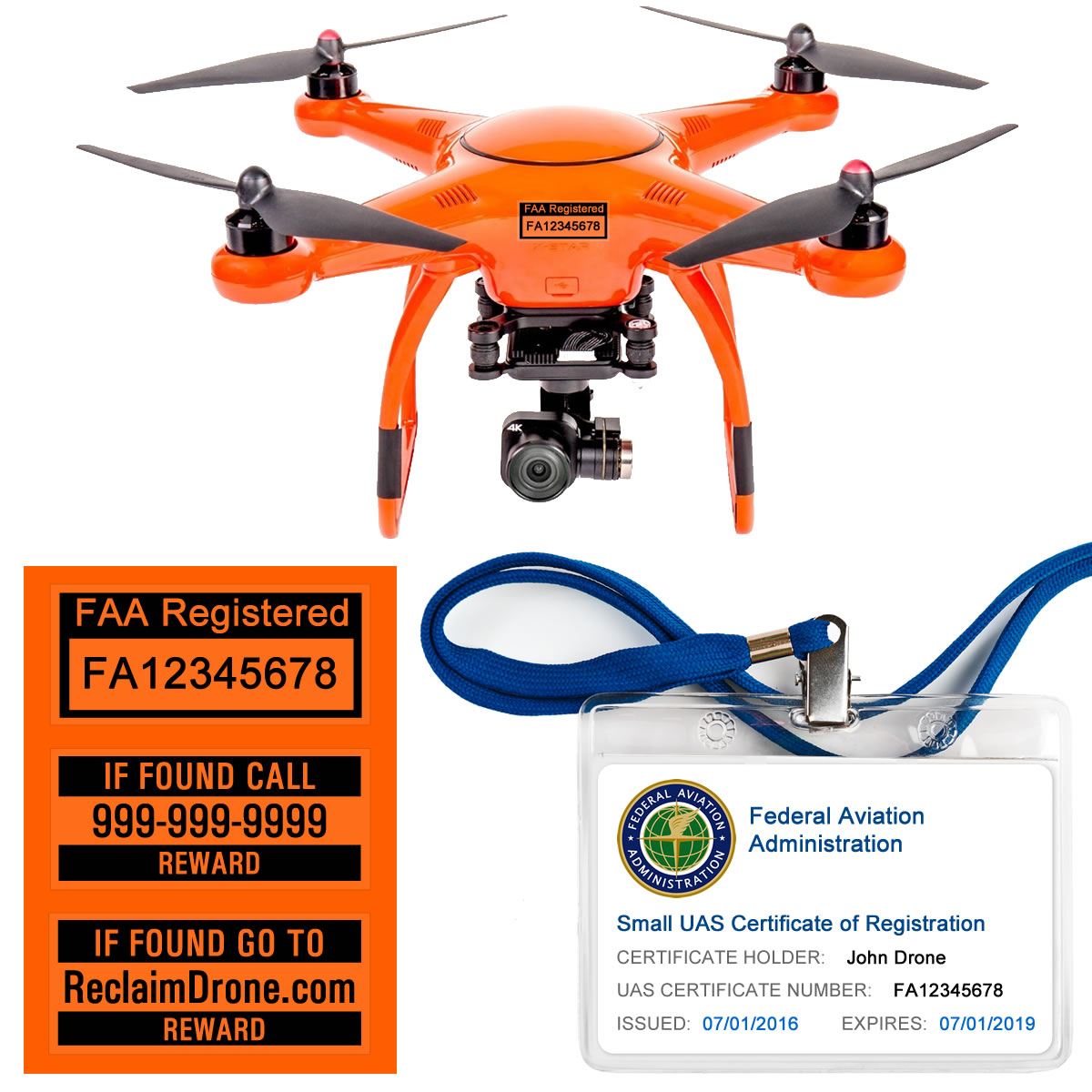 Autel X-Star FAA Certificate Registration ID card and label bundle for hobbyist drone pilots