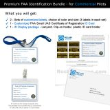 What you get is FAA Registration ID card and labels for commercial drone pilots