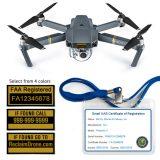 Mavic Pro drone labels and FAA Registration ID Card