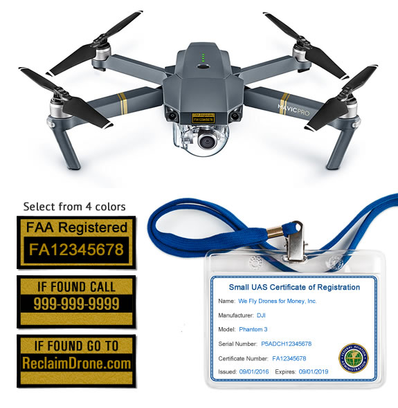 Mavic Pro drone labels and FAA Registration ID Card