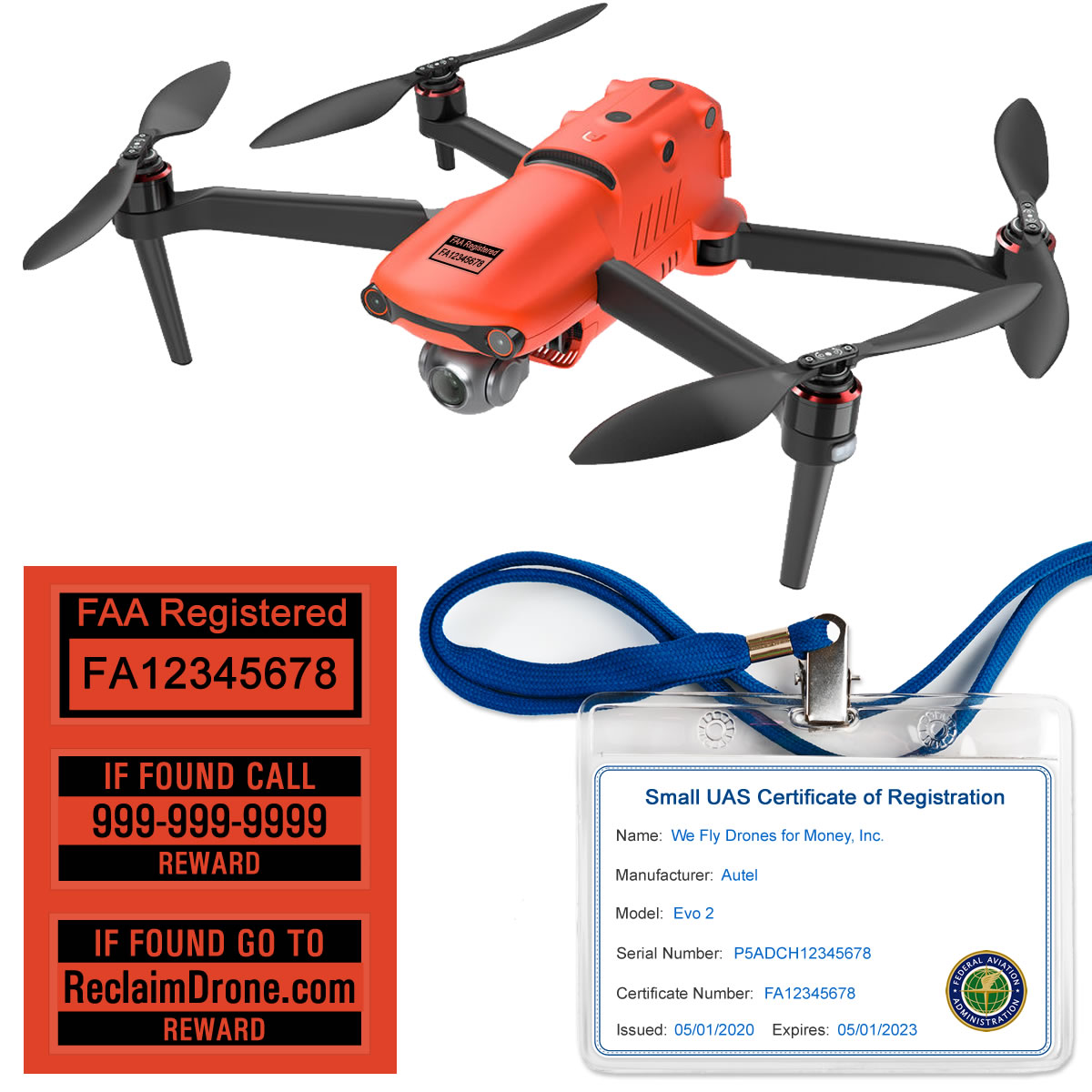 Autel Evo 2 – FAA Registration Commercial Pilot Bundle – FAA Labels, ID Card, Lanyard-2-1-black-1200px