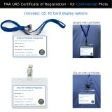 Lanyard and clip-on options for displaying FAA UAS Registration ID Card