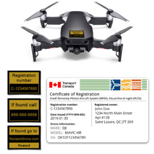 Mavic Air drone registration bundle for Canada - English version