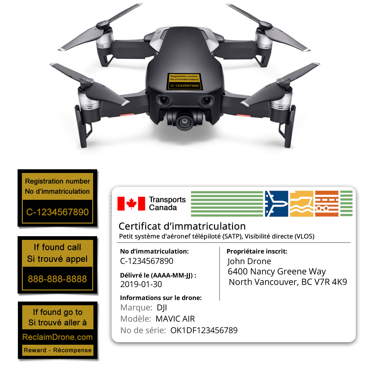 Mavic Air drone registration bundle for Canada – French version