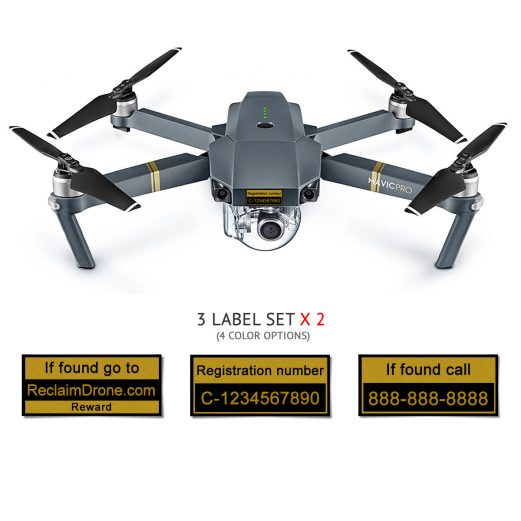 Mavic Pro with TC registration and phone numbers black labels from reclaimdrone.com