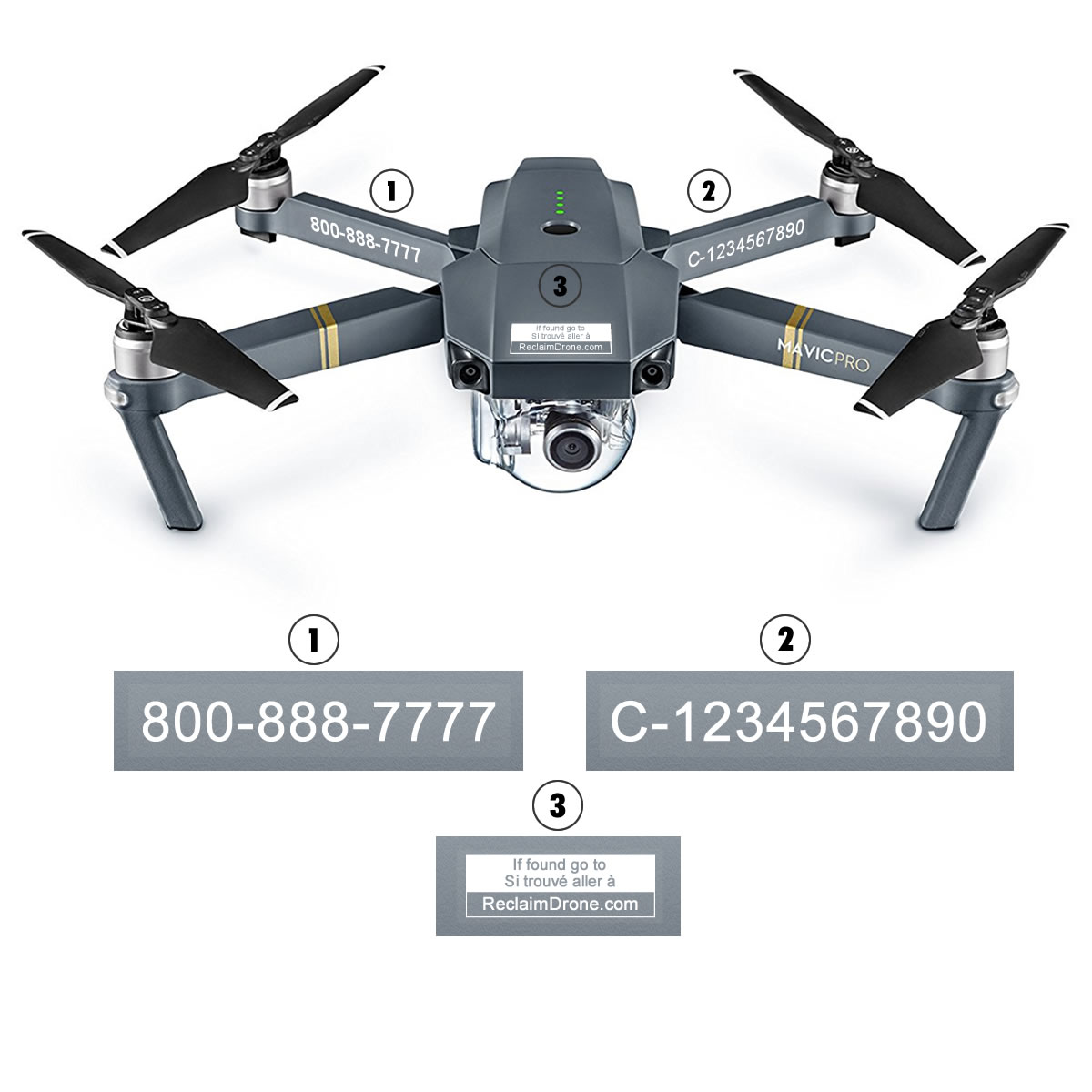 Mavic Pro with TC registration and phone numbers labels from reclaimdrone.com