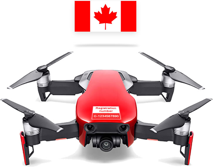 DJI Mavic Air with Transport Canada registration label