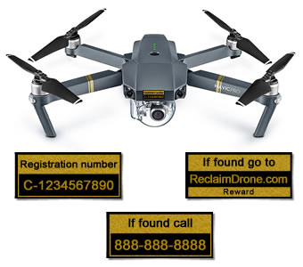 DJI Mavic Pro with reclaimdrone.com labels for Canada pilots