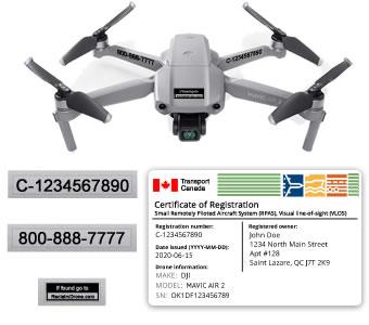 Mavic Air 2 TC registration bundle - registration id card and labels