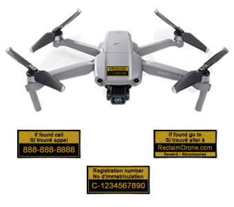 Mavic Air 2 TC drone registration labels