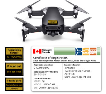 Mavic Air drone registration bundle for Canada