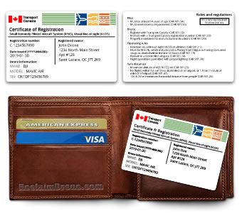 Replica Transport Canada drone certificate of registration  ID card - English version
