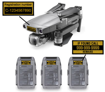 DJI Mavic 2 Pro folded with labels on drone and 3 batteries - Transport Canada