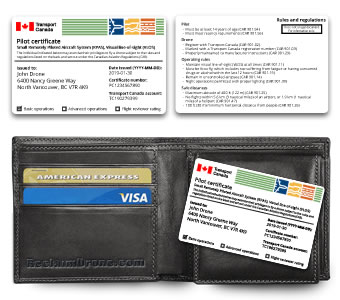 Replica Transport Canada drone pilot certificate ID card - English version