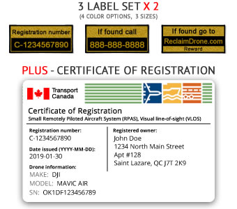 TC Drone registration bundle, includes labels and Certificate of Registration card for Canada