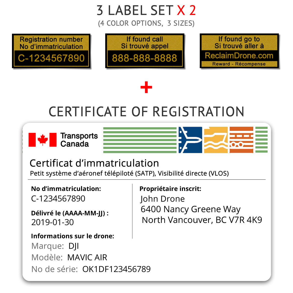 Transport Canada drone registration bundle for Canada – French version
