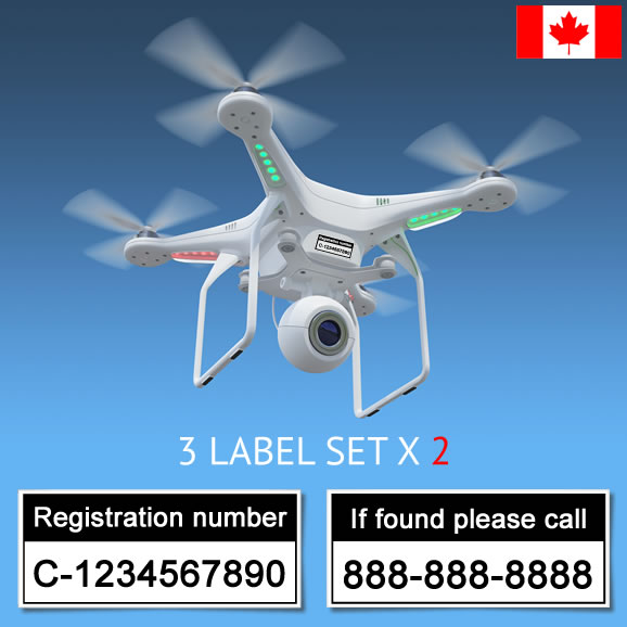 Transport Canada drone registration labels by ReclaimDrone.com