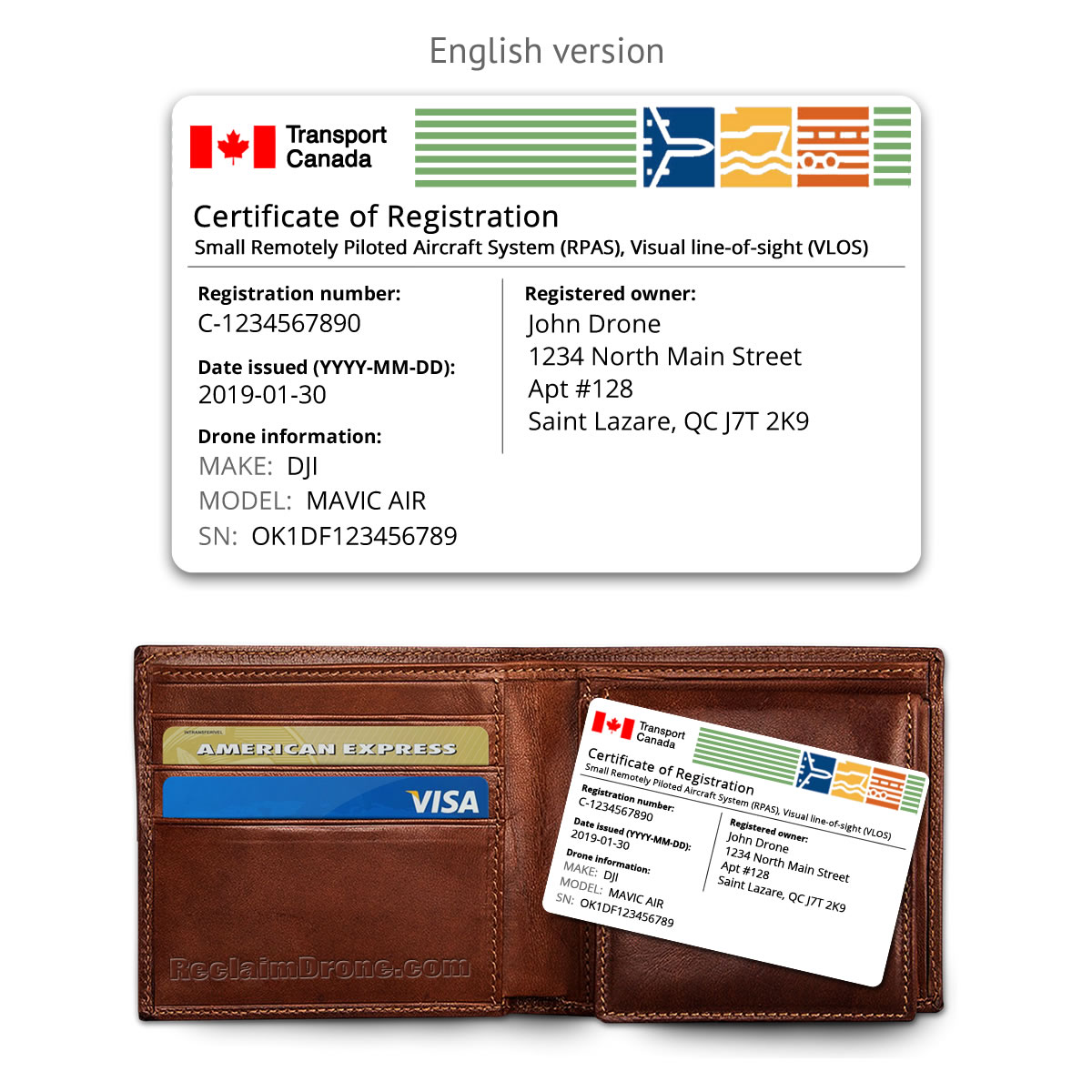 Transport Canada drone certificate of registration ID card – English version