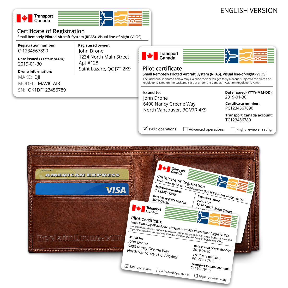 Replica Transport Canada drone pilot certificate and certificate of registration ID cards – English versions