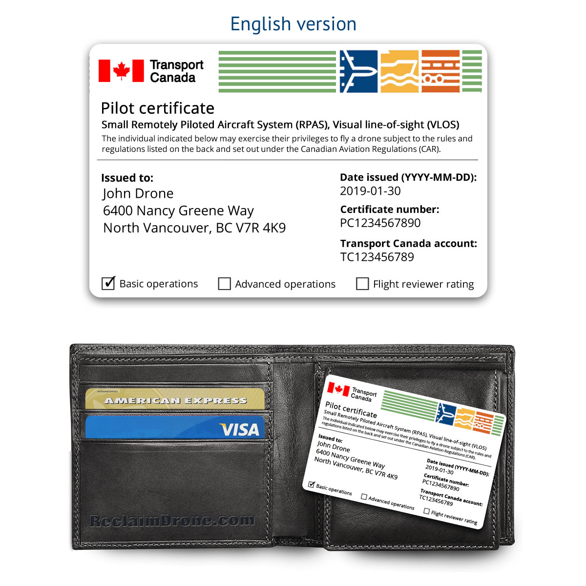 Transport Canada drone pilot certificate ID card – English version