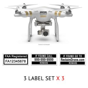 DJI Phantom 3 | 4 FAA UAS Registration and phone number labels by Reclaimdrone.com