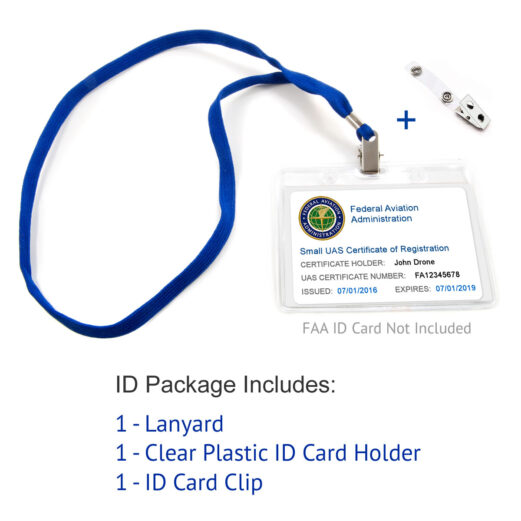 Drone ID Display Package - lanyard, ID card holder, clip