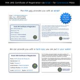 FAA UAS Certificate of Registration emailed compared to hard copy replica for commercial pilots